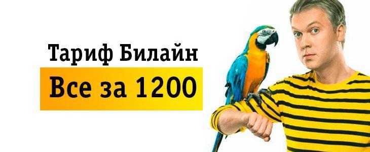 Тариф Билайн «Все за 1200».Описание тарифного плана